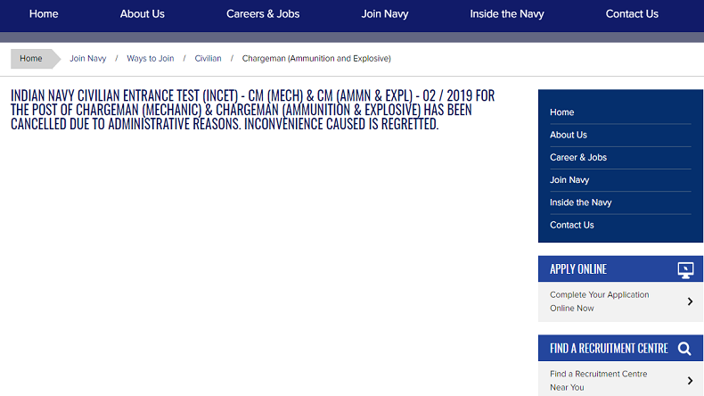 Indian Navy recruitment 2019 for 172 posts of chargeman cancelled, check other details here