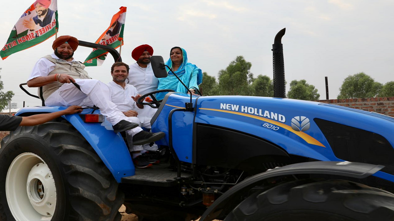 Rahul Gandhi drives tractor in Ludhiana while campaigning for Lok Sabha elections in Punjab