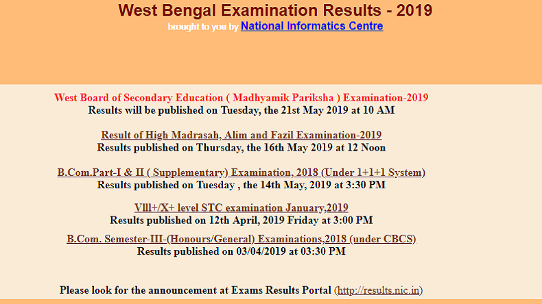 West Bengal Board Result 2019