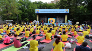 5th International Yoga Day celebrated in Russian capital Moscow, hundreds of participants take part