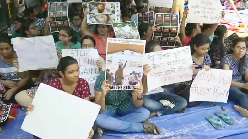 Junior doctors at Nil Ratan Sircar (NRS) Medical College and Hospital in Kolkata went on strike on Tuesday.