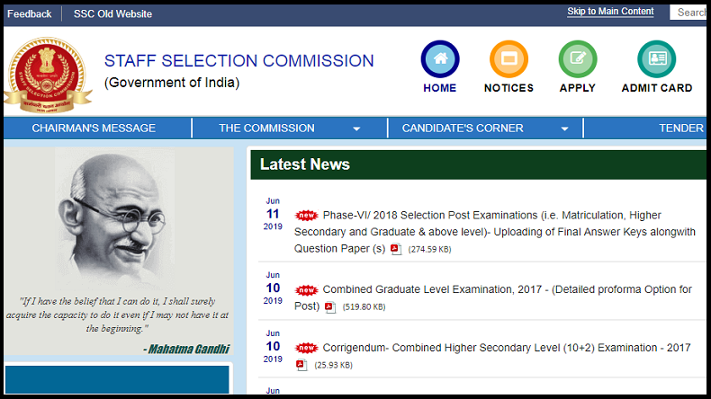 SSC Selection Post Phase 7 notification 2019: