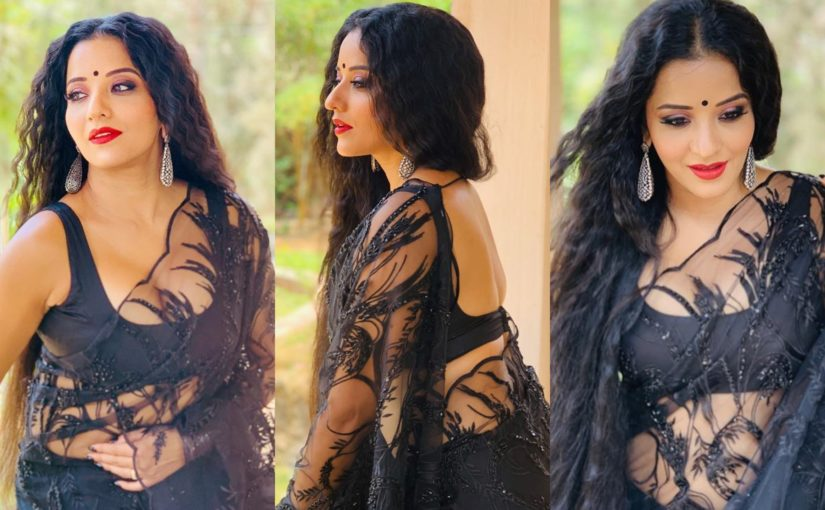 Monalisa photos: Bhojpuri actor stuns in a black lace saree