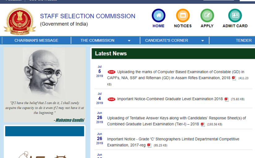 SSC CPO Final Answer Key 2019 for Paper I Released @ ssc.nic.in, steps to check