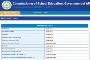 AP DEECET Seat Allotment list 2019 released