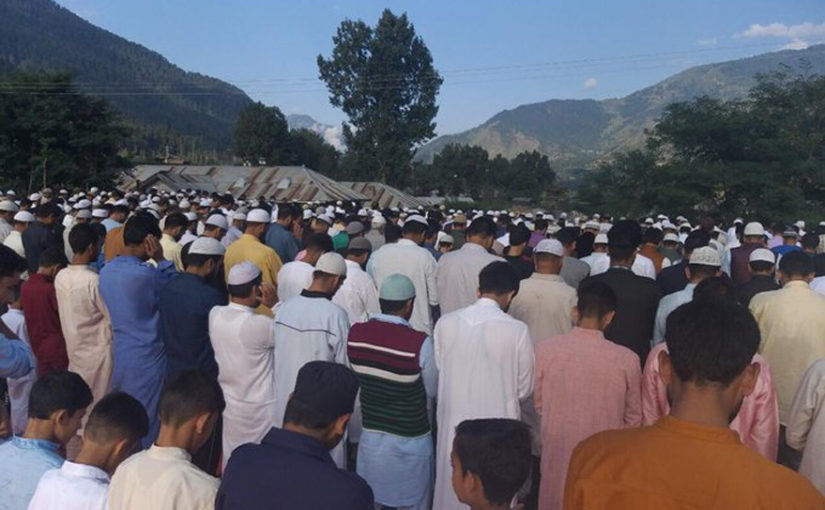 Devotees offer namaaz on the occasion of Eid al-Adha in Jammu and Kashmir's Baramulla district on Monday.