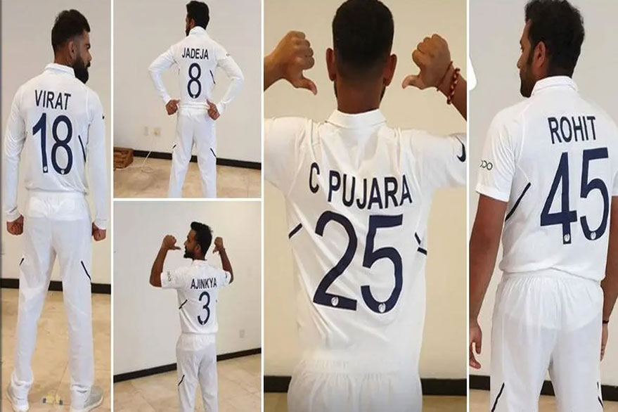 Indian cricketers flaunting new Test jerseys