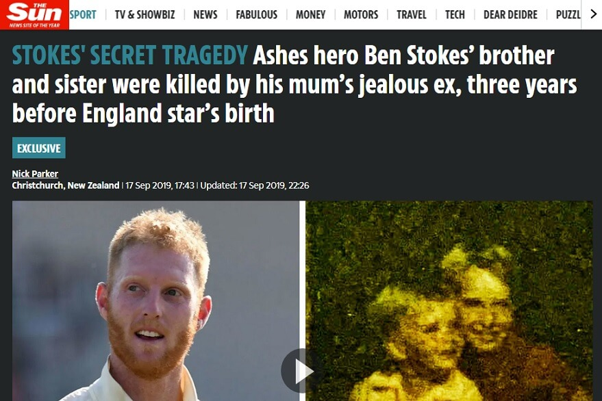 Screengrab of The Sun's report on Ben Stokes' family tragedy