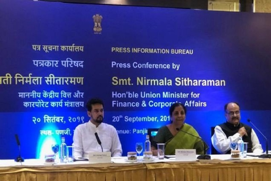 Finance Minister Nirmala Sitharaman at the press conference