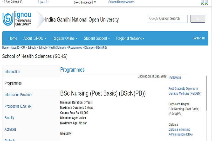 IGNOU Recruitment 2020: Notification released for Post Basic B.Sc. Nursing Programme, apply @ ignou.ac.in