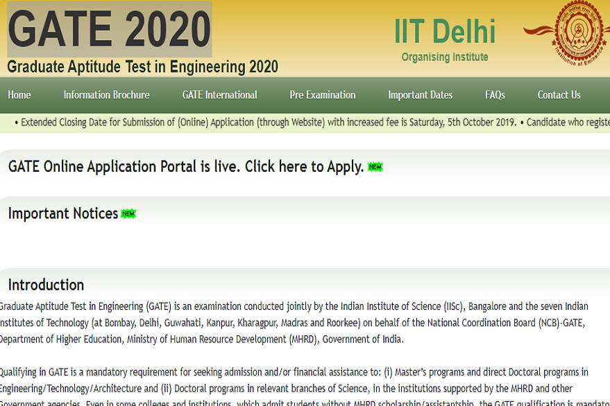 GATE 2020: Online registration process ends today, apply @gate.iitd.ac.in